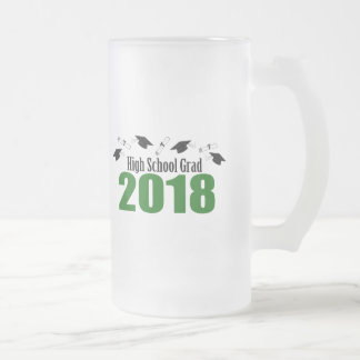 High School Grad 2018 Caps And Diplomas (Green) Frosted Glass Beer Mug