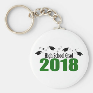 High School Grad 2018 Caps And Diplomas (Green) Keychain