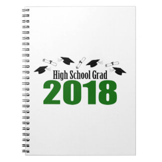 High School Grad 2018 Caps And Diplomas (Green) Notebook
