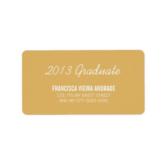 High School Graduation 2013 Graduate Gold White Label