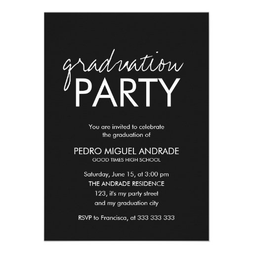 High School Graduation Party Photo Black and White Personalized Announcement
