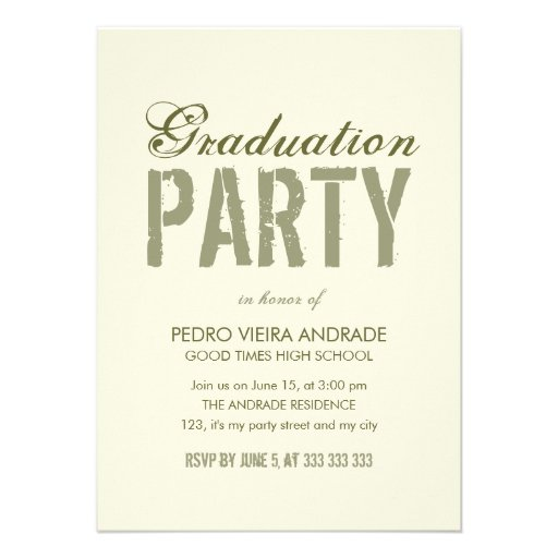High School Graduation Party Photo Green Beige Custom Invitations