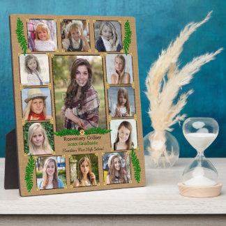 High School Graduation Photo Collage | Burlap Fern Display Plaque