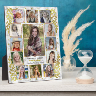 High School Graduation Photo Collage | Gold Marble Display Plaques