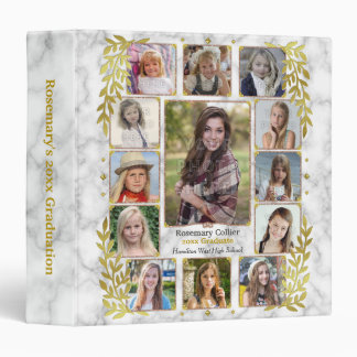 High School Graduation Photo Collage | Marble Gold 3 Ring Binder