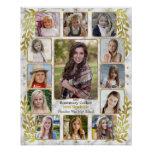 High School Graduation Photo Collage | Marble Gold Poster