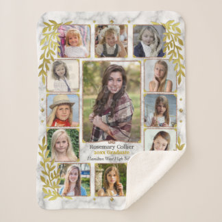 High School Graduation Photo Collage | Marble Gold Sherpa Blanket