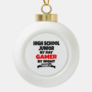 High School Junior by Day Gamer by Night Ceramic Ball Christmas Ornament