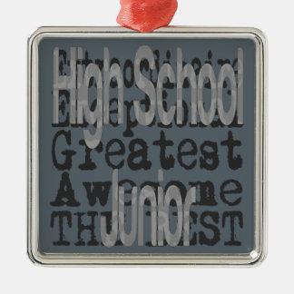 High School Junior Extraordinaire Silver-Colored Square Ornament