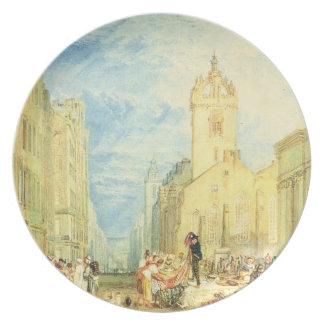 High Street, Edinburgh, c.1818 (w/c, pen, ink, gra Party Plates