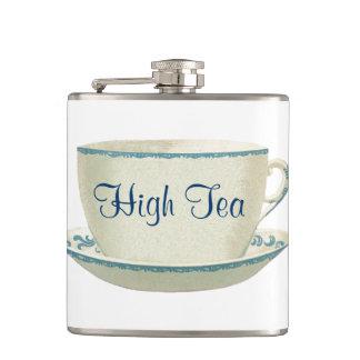 High Tea Time Blue Tea Cup Hip Flask