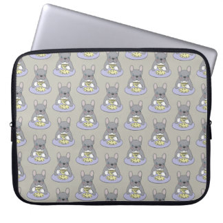 High Teas with Cute Blue Brindle Frenchie Laptop Sleeve