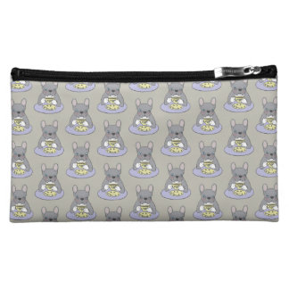 High Teas with Cute Blue Brindle Frenchie Makeup Bag