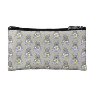 High Teas with Cute Blue Brindle Frenchie Makeup Bags