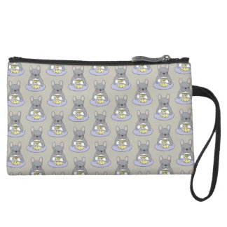 High Teas with Cute Blue Brindle Frenchie Suede Wristlet