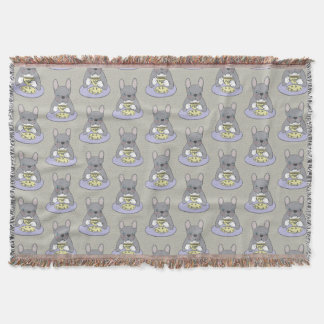 High Teas with Cute Blue Brindle Frenchie Throw Blanket