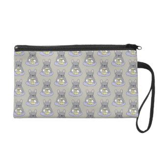 High Teas with Cute Blue Brindle Frenchie Wristlet