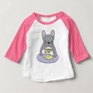 High Teas with Sweet and Cute Blue Brindle French Baby T-Shirt