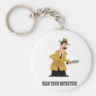 high tech detective basic round button keychain
