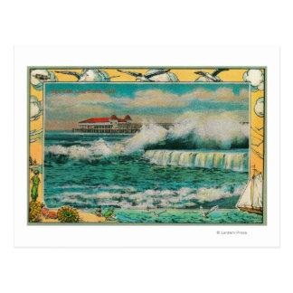 High Tide at Long Beach, California Postcard