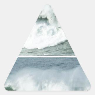 HIGH TIDE WAVES -  OCEAN BEACHES TRIANGLE STICKER