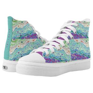 High Top Shoes - Seashore Art Design / with Print