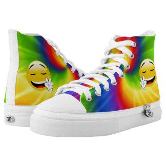 High Top Sneakers With Rainbow Tie-Dye Peace Emoji