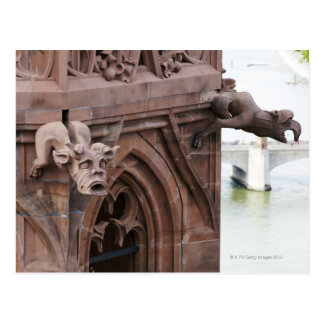 High view of pair of gargoyles over Basel from Postcard