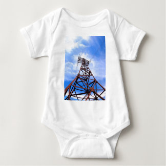 High-voltage tower on blue sky baby bodysuit
