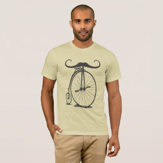 High Wheel Penny Farthing Mustache Bicycle T-Shirt