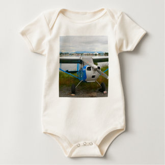 High wing aircraft, blue & white, Alaska Baby Bodysuit