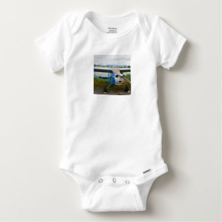High wing aircraft, blue & white, Alaska Baby Onesie