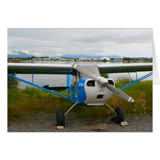 High wing aircraft, blue & white, Alaska Card