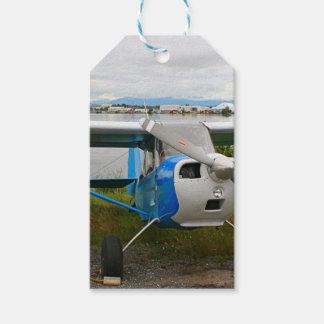 High wing aircraft, blue & white, Alaska Gift Tags