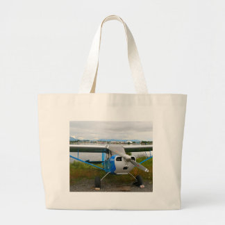 High wing aircraft, blue & white, Alaska Large Tote Bag