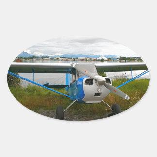 High wing aircraft, blue & white, Alaska Oval Sticker