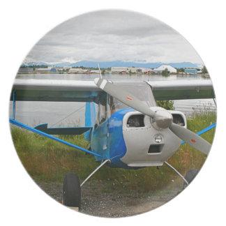 High wing aircraft, blue & white, Alaska Plate