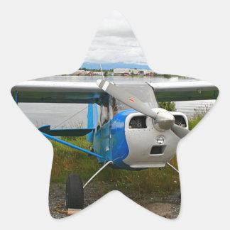 High wing aircraft, blue & white, Alaska Star Sticker