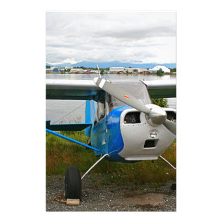 High wing aircraft, blue & white, Alaska Stationery