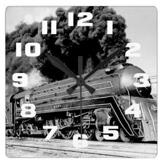 Highball It Vintage Speeding Locomotive Square Wall Clock