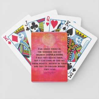 Highest Aspirations quote Louisa May Alcott Bicycle Playing Cards