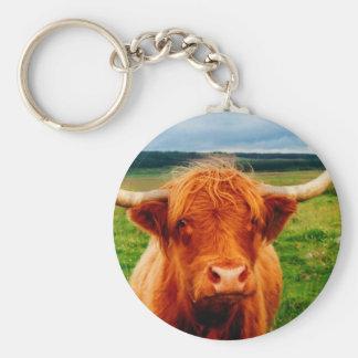 Highland Cow Basic Round Button Keychain