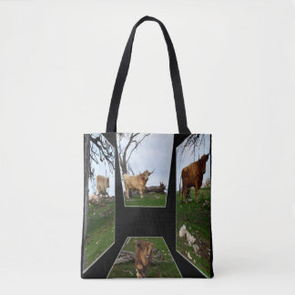Highland Cow Dimensional Art, Tote Shopping Bag