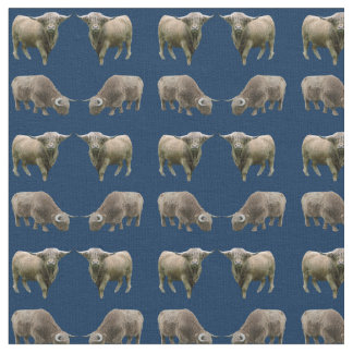 Highland Cow Frenzy Fabric (Navy)