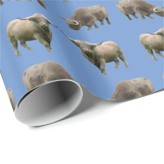 Highland Cow Frenzy Wrapping Paper (Blue)