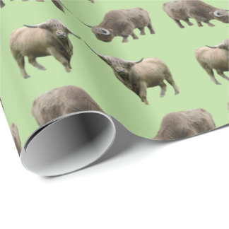 Highland Cow Frenzy Wrapping Paper (Green)