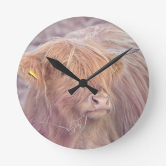 Highland Cow, Highland Cattle Round Clock
