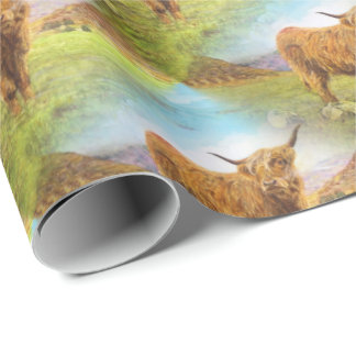 Highland Cow pattern. Wrapping Paper