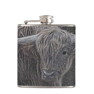 Highland cow photograph hip flask