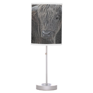 Highland cow photograph table lamp